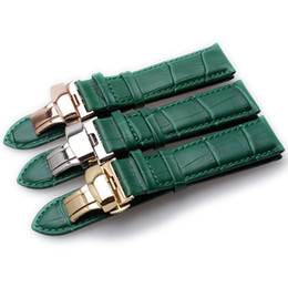Grüne frauen armband uhren online-Green Bamboo Grain Echtes Leder Uhrenarmband Schmetterling Schnalle Herren Damen Armband Armband 12mm 14mm 16mm 18mm 20mm 22mm