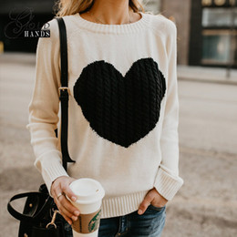 Wholesale Heart Computer - Autumn Winter Women Knitting Sweater Heart Cute Long Sleeve Pullover O-neck Knitted Sweaters Women Casual Patchwork Pullovers