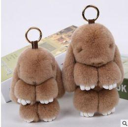 Wholesale Cute Cartoon Heart - Cute Bunny Keychains nine colours Women 14 cm Fluffy Pompom Fur Rabbit Keychain Llaveros Mujer Car Bag Pendant Ball Key Holder