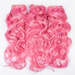 mechones de cabello virgen ondulado mojado Rebajas Pink Wet and Wavy Human Hair 3 Bundle Deals #Pink Pelo humano Pink Water Wave Weave Extensiones de cabello humano de la Virgen de Brasil Envío rápido
