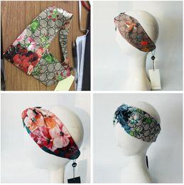 Wholesale headband turbans - Designer Headband Head Scarf for Women Luxury Brand 100% Silk Elastic Hair bands Girls Retro Floral Bird Flower Turban Headwraps Gifts