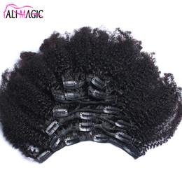 Extensiones de cabello clip rizado brasileño online-Afro Kinky Curly Clip en extensiones de cabello humano Cabello brasileño Remy 100% Clip de cabello natural humano Ins Bundle 100G 120G Ali Magic Factory