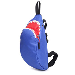 fashion sling bag girls Coupons - New Shark Small Chest Bag Boys Girls Students Leisure Crossbody Messenger Bag Sling Shoulder Bag Cute Travel Back Pack