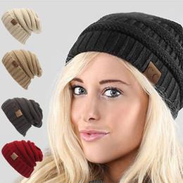 Wholesale Kawaii Winter Hats - HIRIGIN Winter CC labeling Knitted Hat Crochet Hat Ski Beanie Skull Slouchy Kawaii Pompom Ball Beanies Women Christmas Gift