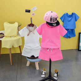 Wholesale Models Girls Korean - ins explosion models kids children summer suit 2018 new Korean boys and girls shorts two piece set