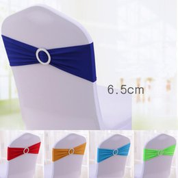 Wholesale Wholesale Chair Bows - Elastic Organza Chair Covers Sashes Band Wedding Bow Tie Backs Props Bowknot Spandex Chairs Sash Buckles Cover Back Hostel Trim Pink 2 8sk