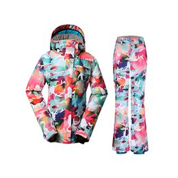 GS girls Snow Wear 10K waterproof windproof Women ski suit Set lady  snowboarding Clothing Camouflage Snow jacket and ski pants a50c1bc29