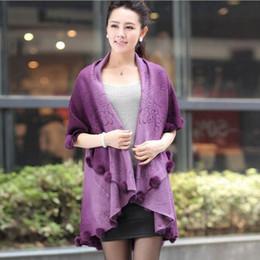 Wholesale Knitted Rabbit Fur Coat Black - Wholesale-2016 New Autumn Winter Rabbit Fur Coat Women Cardigan Knitted Plus Size Wool Poncho Cardigan Women Floral Sweater D316