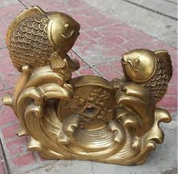 Wholesale fishing mascots - China brass three fish mascot money furnishing articles decoration Statue