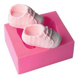 Nette Babyschuhe Form Silikon Backform DIY 3D Backen ware Form Für Schokolade Keks Ton Fondant Kuchen Dekorieren Tools von Fabrikanten
