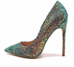 Free shipping real photo luxura genuine leather Gradient Color glitter  Point toe lady girl high heel shoes pump size 33-43 12cm 10cm 8cm 7bc0a346b24d