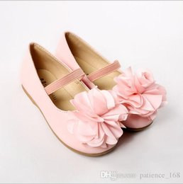 Wholesale baby casual shoes high - 2018 spring new style 2 colors high quality soft PU leather baby Casual shoes cute flower shoes princess dance shoes 1-5T free shipping