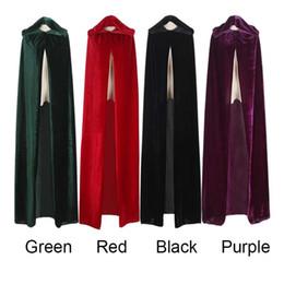2019 traje de capa púrpura ROLECOS bruja adulta larga púrpura verde rojo negro capas de Halloween capucha y capas disfraces de Halloween para mujeres hombres traje de capa púrpura baratos