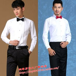 Wholesale age breast - Middle-aged adult students stage chorus performance costume show host shirt white long-sleeved bow tie shirt