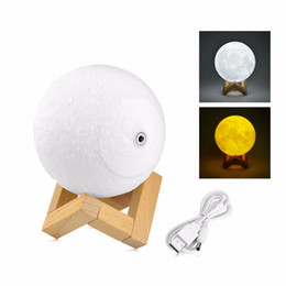 Wholesale color changing baby night light - Table Lamp LED Moon Light Touch Switch USB Cable Rechargeable Night Light 2 Color Change Desk Decoration Baby Kids Gift 3D Print