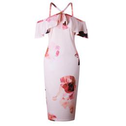 Poliéster un hombro vestido online-Vestido de volantes con estampado de flores Correa sin mangas de Bodycon Mini vestidos de poliéster de una pieza Vestido de mujer de moda en el hombro