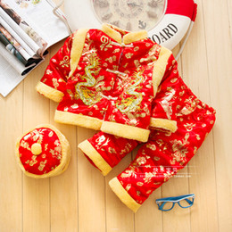 blue chinese costume Coupons - Cotton Chinese Traditional Embroidery New Year Clothes for Baby Boy Winter Cotton Clothing Tang Suits Thick Infant Costume