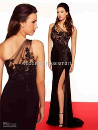 Wholesale elie saab cocktail - free shipping new fashion 2018 vestido casual formal one shoulder sexy black long elie saab lace evening party gown prom Dresses