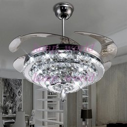 Wholesale Ceiling Fans Led Lights - LED Crystal Chandelier Fan Lights Invisible Fan Crystal Lights Living Room Bedroom Restaurant Modern Ceiling Fan 42 Inch with Remote Control