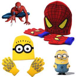 Wholesale Kawaii Hats - Spider-man Minions Children Knitted Skullies Beanies Hats +Gloves 2pcs Winter Warm Set Cartoon Character Print Kids Kawaii Cute Cap Gloves