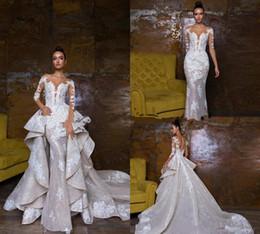Deutschland 2018 Bohemian Brautkleider mit abnehmbaren Rock Sweep Zug Spitze Applique Pailletten Langarm Brautkleid Luxus Mermaid Brautkleider Versorgung