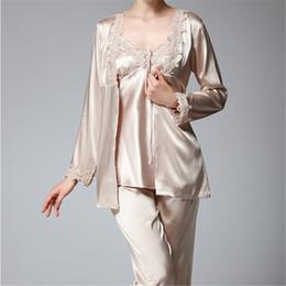 425af7fd72 Women s Sleep Lounge Pajamas suit 2017 New Autumn Winter Elegant Womens  Silk Satin 3 Piece Sleep Suit Pajama Sets Full Sleepwear Female