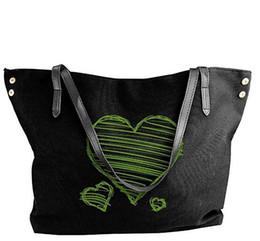 be6433b7f2d79 grüne leinwand-tasche Rabatt Damen Canvas Schultertasche Grün Liebe Symbol  Portable Big Bag Tote Handtasche