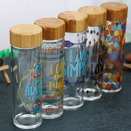 Wholesale Painted Glass Bottles - Vintage Glass Bottle With Bamboo Lid Sealed Sports Water Bottle Beautiful Painting For Travel Creative Gift 600ml