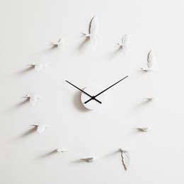 Wholesale handcraft homes - 2018 Nordic style New Swallow handcraft Clock modern design wall clock good gift high quality home decoration product Manual design