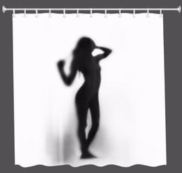 Tela de burbujas online-3D Girl bubble sunglass shadow cortina de ducha impermeable tela de poliéster Cortina de baño rideau de douche cortina de bano + ganchos