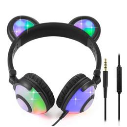 Osos auriculares online-Bear Ears Headphones LED Light Cute Headsets para el teléfono de la computadora que brilla intensamente linterna Wired Earphone para el ordenador portátil iPhone batería incorporada