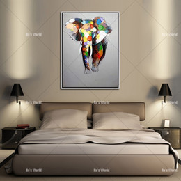 Wholesale Elephant Oil Canvas Painting - Large Canvas Painting African Modern Art Elephants Living Room Wall Decor Pictures Handmade Landscape Oil Painting Unframed