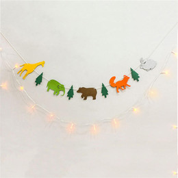 Wholesale Baby Bass - Happy Family Baby Shower Party Lost Forest Animal Bass Set Paper Flags Banner Decor Birthday Party Supplies For kids P20