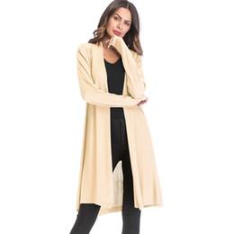 19625097acd4 2018 Primavera Otoño Largo Cardigan Mujeres Moda Manga Larga Tricot Color  Sólido Puntada Abierta Mujeres Suéter Chaqueta Cardigans Escudo