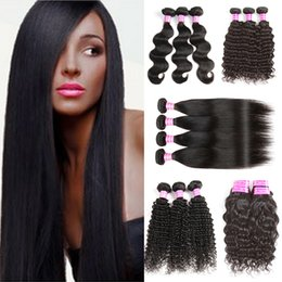 Wholesale Wholesale Brazilian Hair Bundles Sale - Peruvian Brazilian Straight Hair Unprocessed 8A Virgin Hair Body Wave,Deep Wave,Water Wave Remy Human Hair Bundles Mix Texture DHgate Sales