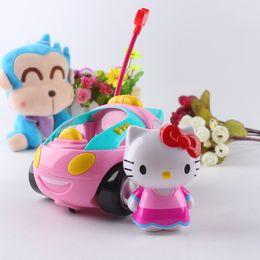 hola juguetes Rebajas Dibujos animados Doraemon Hello Kitty juguetes eléctricos de control remoto Car Kids Rc Car Cartoon Musical Light niños niños niñas juguete