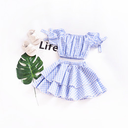 Wholesale Short Pleated Plaid Skirt - Girls Dresses INS Summer Fashion Blue Plaid Bowknot Puff Sleeve Pleated Skirt 2PCS Baby Set Children Kids Clothing Free Shipping 987