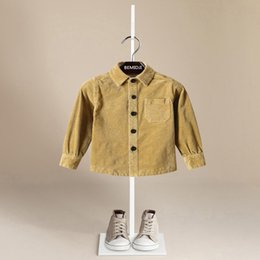 Wholesale Corduroy Wholesale - Boutique Boys clothing Boy Shirts Long sleeve Solid corduroy shirts Appique Cotton shirts Kids Tops 2017