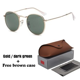 Wholesale Amber Women - 13 Colors Classic Round 3447 Sunglasses for Men women Brand Designer Unisex sun glasses Eyewear Male Oculos with brwon cases