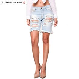 Wholesale Ladies Street Jeans - A Forever Summer Womens Denim Street Shorts Beggar Hole Ripped Jeans Shorts Ladies Short Jeans For Women Denim AFF1058