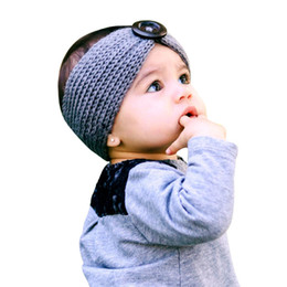 botón de accesorios para el cabello Rebajas Bebé diademas invierno otoño diadema infantil niño botón ganchillo accesorios para el cabello niños recién nacido bebe calentador del oído