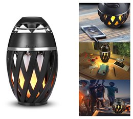 Wholesale Dancing Light Speakers - Flame Atmosphere Speakers Table Lamp Bluetooth Night Light Outdoor Portable Camping Lamp Dancing Flicker Flame Stereo Bluetooth Speaker