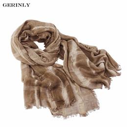 Wholesale Wrinkle Long Scarf - Wholesale- GERINLY Brand Winter Scarf Men Retro Design Warm Soft Scarves Plaid Wrinkled Cotton Shawls Long Cachecol Foulard 195*80cm Sjaal