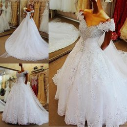 Wholesale white scarf balls - Luxury High Quality Beading Sequins Crystal Lace Wedding Dresses Real With Scarf White Custom Made Wedding Bridal Gowns