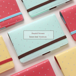 Wholesale Sweet Notebook - Polka Bandage Macarons Agenda Refillable Notebook Faux leather A5 A6 Cute Girl Sweet Filofax planner organizer binder