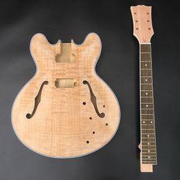 гитарный комплект diy Скидка DIY незавершенные гитара комплект электрогитара,красное дерево шеи с Палисандр гриф,без гитарных деталей,бесплатная доставка!