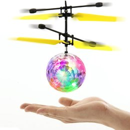 Wholesale Rc Lights - RC Flying Ball Helicopter Toys Colorful LED Light Remote Control Drone Electronic Infrared Induction Aircraft Fly Toy