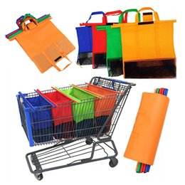 Wholesale food container organizer - Reusable Shopping Bag Cart Trolley Supermarket Hanging Storage Bags Foldable Containers Organizer Bags 4pcs Set HH71254