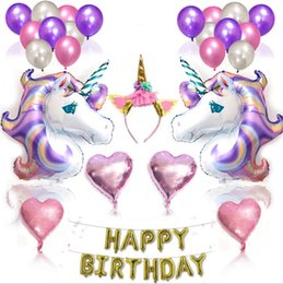 Wholesale Birthday Cake Decorating Supplies - Unicorn Party Supplies Foil Unicorn Balloons Kids Girls Birthday Party Decoration Princess Birthday Decorating Balloon Set