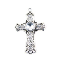 Wholesale wholesale cross pendant scarves - Antique Silver Style Acryl Charm Hollow Out Design Alloy Cross Scarf Pendant for DIY Jewelry Making Necklace Pendant, PT-321